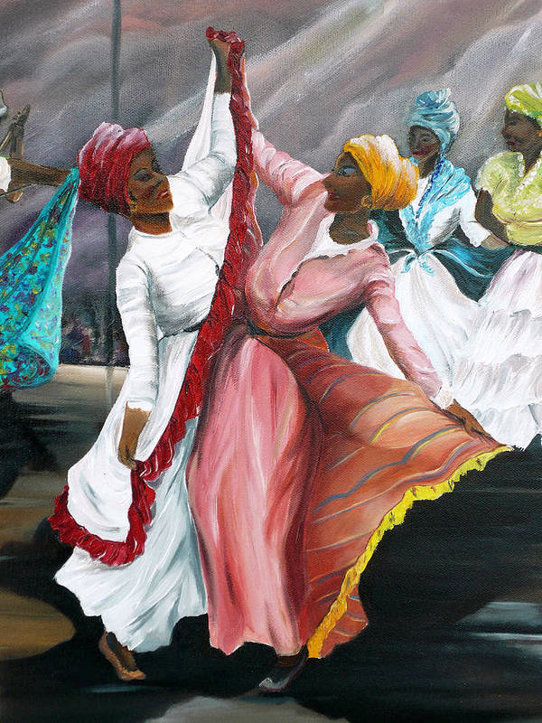 Dancers Folk Caribbean Women Painting Dance Painting Tropical Dance Painting Art Print featuring the painting Dance The Pique 2 by Karin Dawn Kelshall- Best