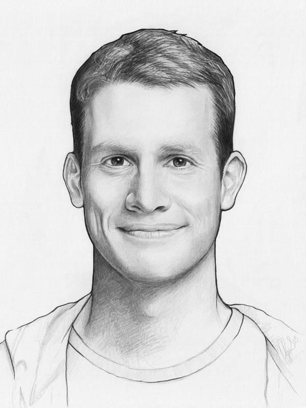 Graphite Pencil Print featuring the drawing Daniel Tosh by Olga Shvartsur