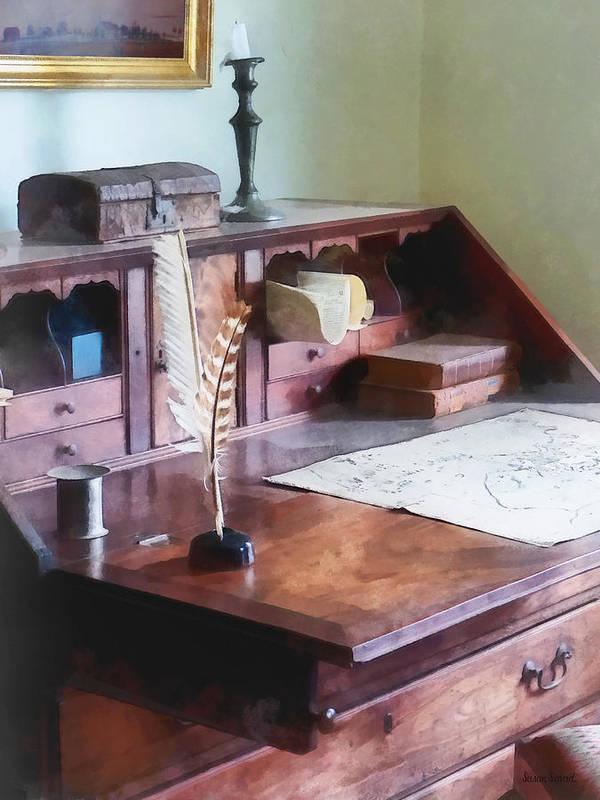 Cartographer Art Print featuring the photograph Draftsman - Cartographer's Desk by Susan Savad