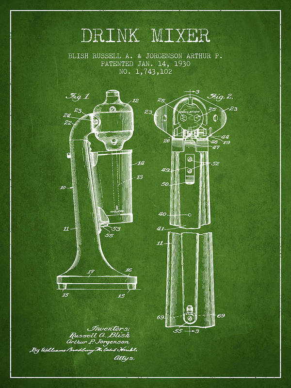 Cocktail Shaker Art Print featuring the digital art Drink Mixer Patent From 1930 - Green by Aged Pixel