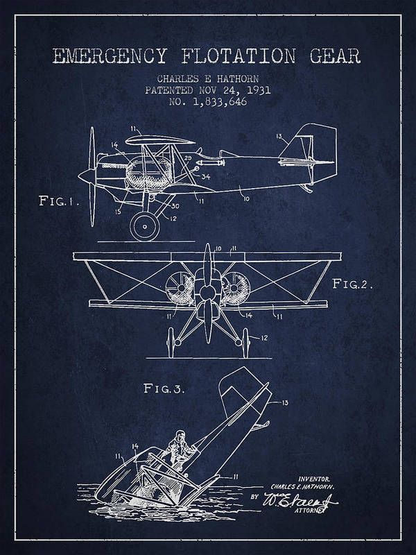 Airplane Print featuring the drawing Emergency Flotation Gear Patent Drawing From 1931 by Aged Pixel