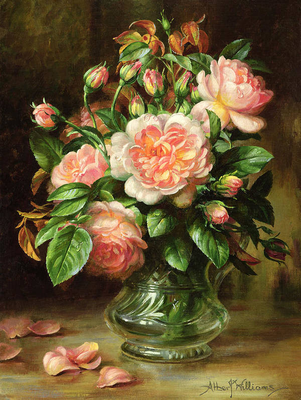 Rose Art Print featuring the painting English Elegance Roses In A Glass by Albert Williams