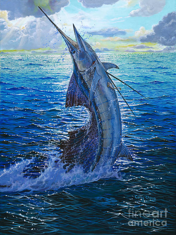 Sailfish Art Print featuring the painting Evening Bite by Carey Chen