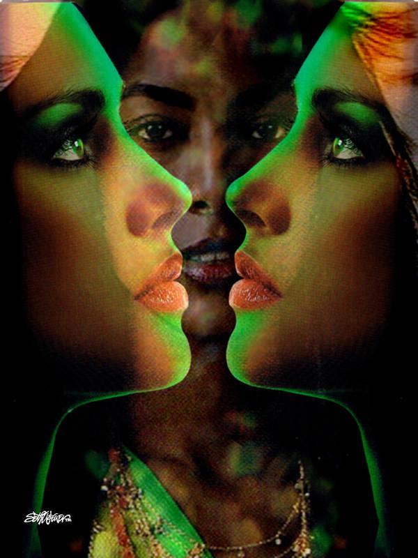 Women Art Print featuring the digital art Face 2 Face by Seth Weaver