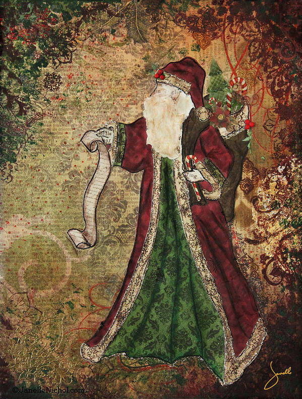 Christmas Art Print featuring the mixed media Father Christmas A Christmas Mixed Media Artwork by Janelle Nichol