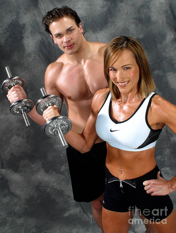 Model Art Print featuring the photograph Fitness Couple 17-2 by Gary Gingrich Galleries