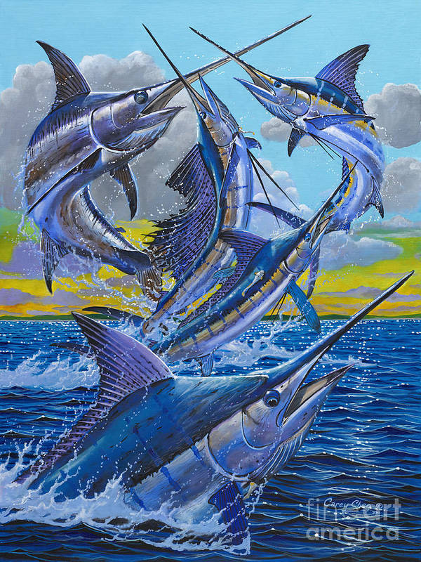 Billfish Art Print featuring the painting Five Billfish Off00136 by Carey Chen