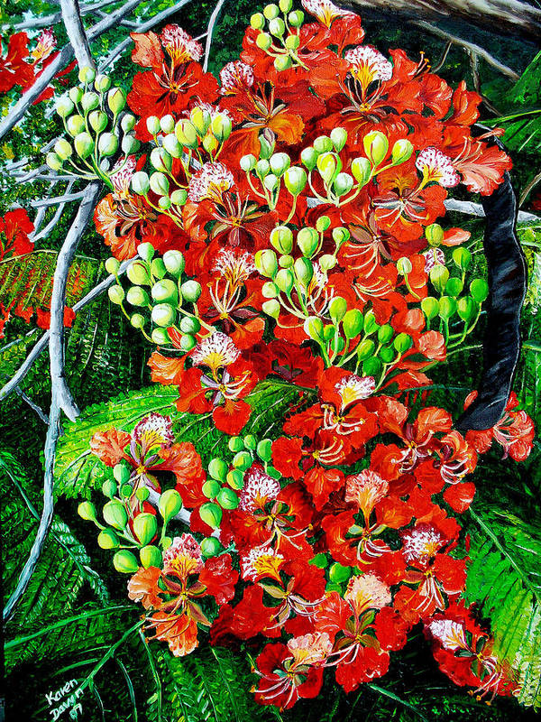 Royal Poincianna Painting Flamboyant Painting Tree Painting Botanical Tree Painting Flower Painting Floral Painting Bloom Flower Red Tree Tropical Paintinggreeting Card Painting Art Print featuring the painting Flamboyant In Bloom by Karin Dawn Kelshall- Best
