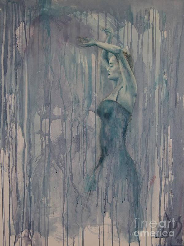 Dance Female Flamenco Sport Blue Purple Art Print featuring the painting Flamenco 3 by Jos Van de Venne