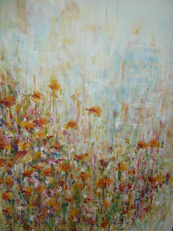 Oil Art Print featuring the painting Flower Field by Cate Evans