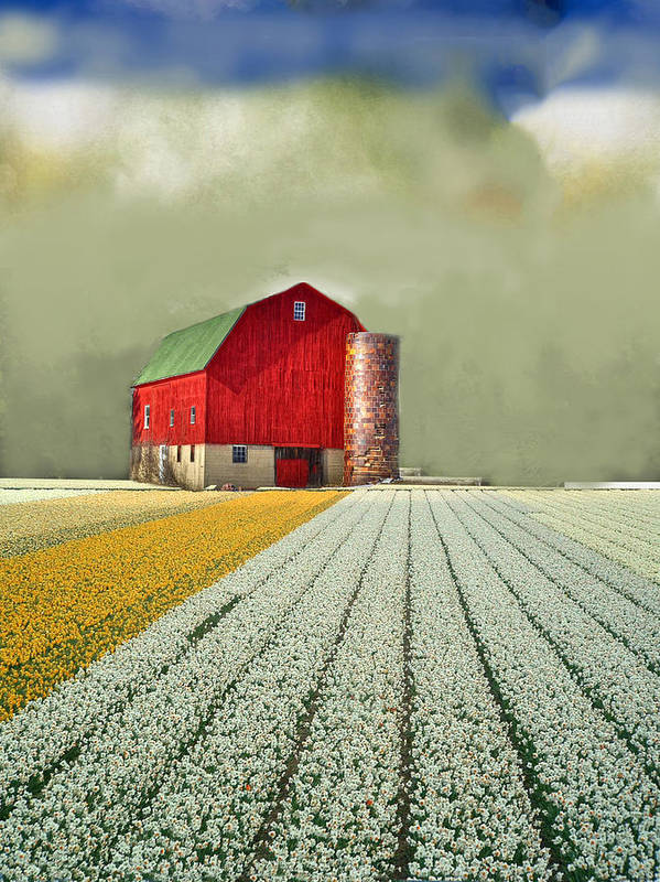 Photo Paintings Art Print featuring the painting Flower Field Series by Sid Katragadda