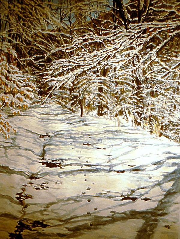 Snow Scene Art Print featuring the painting Following Max by Thomas Akers