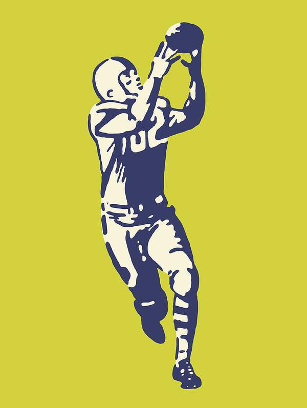 Football Player Catching Ball Art Print