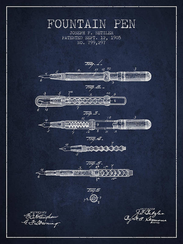 Pen Art Print featuring the drawing Fountain Pen Patent From 1905 - Navy Blue by Aged Pixel