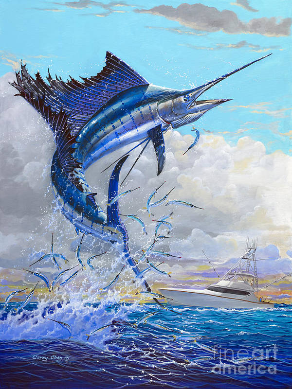 Sailfish Art Print featuring the painting Free Jumper Off00152 by Carey Chen