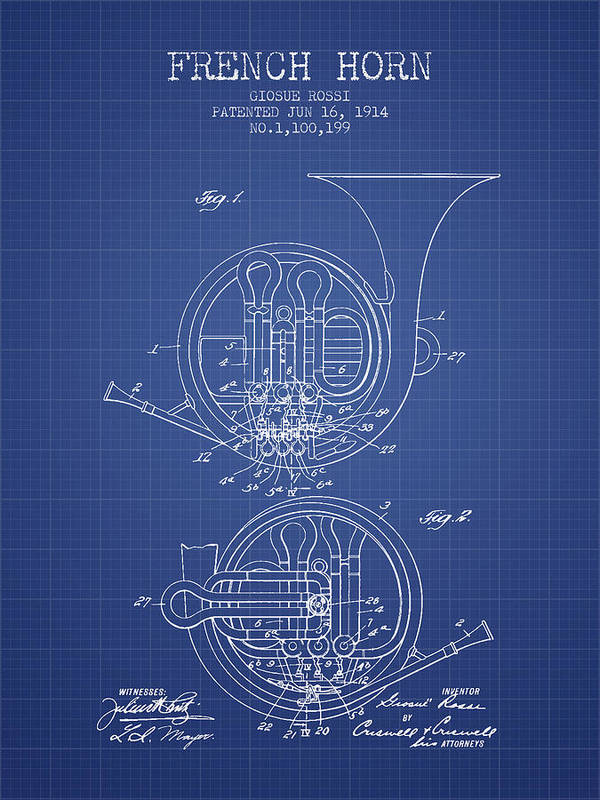 French horn patent from 1914 blueprint art print by aged pixel french horn art print featuring the digital art french horn patent from 1914 blueprint by malvernweather Images