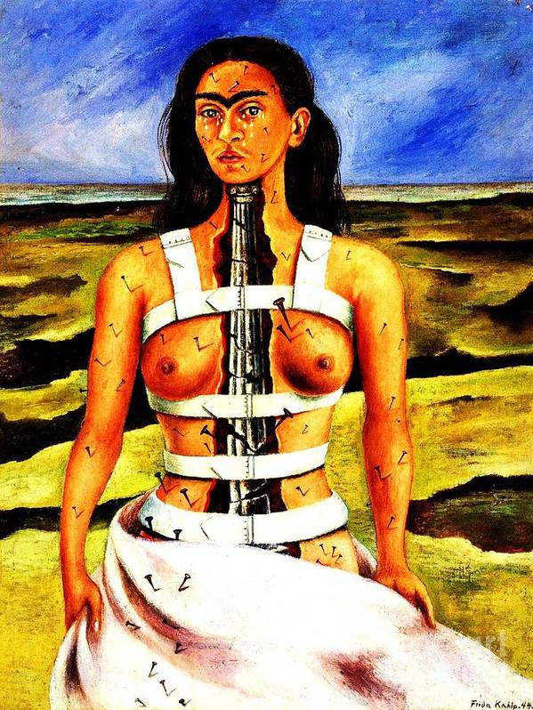 Reproduction: Frida Paintings Art Print featuring the painting Frida Kahlo The Broken Column by Pg Reproductions