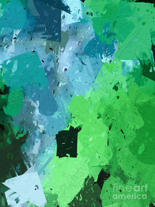 Abstract Art Print featuring the digital art From Winter Blues To Spring Greens by Heidi Smith