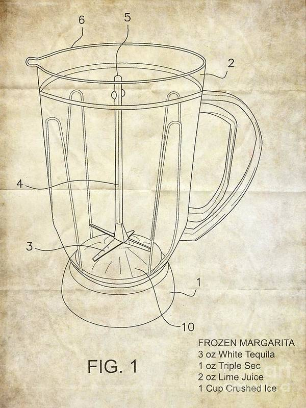 Patent Art Print featuring the photograph Frozen Margarita Recipe Patent by Edward Fielding