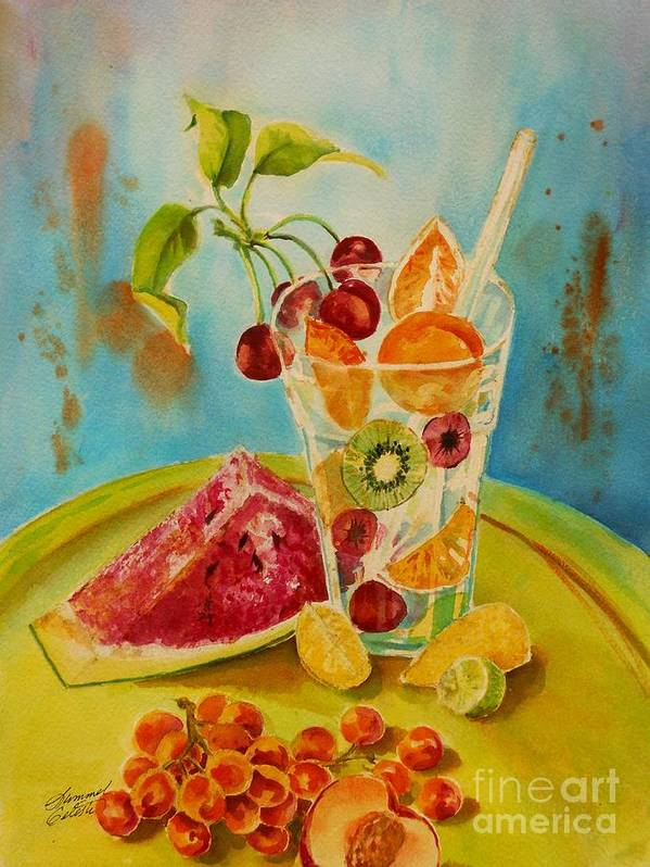 Watercolor Art Print featuring the painting Fruit Coctail by Summer Celeste