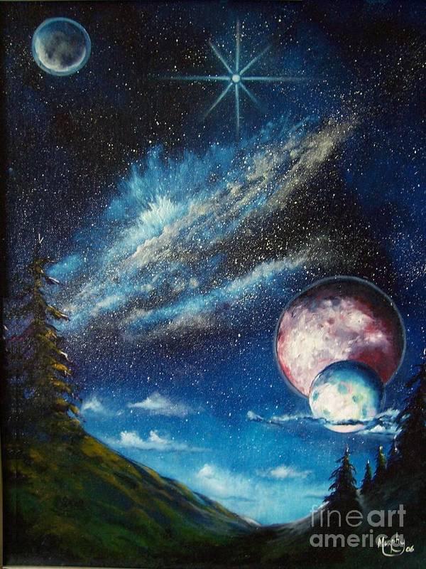 Space Horizon Art Print featuring the painting Galatic Horizon by Murphy Elliott