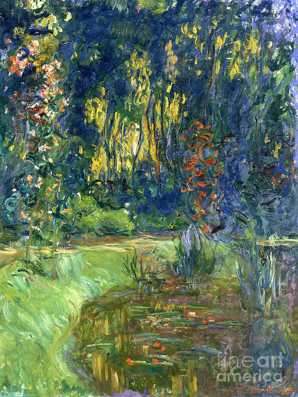 Pond; Impressionist Art Print featuring the painting Garden Of Giverny by Claude Monet