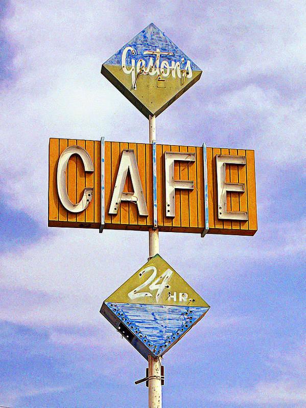 Niland Print featuring the photograph Gaston's Cafe by Ron Regalado
