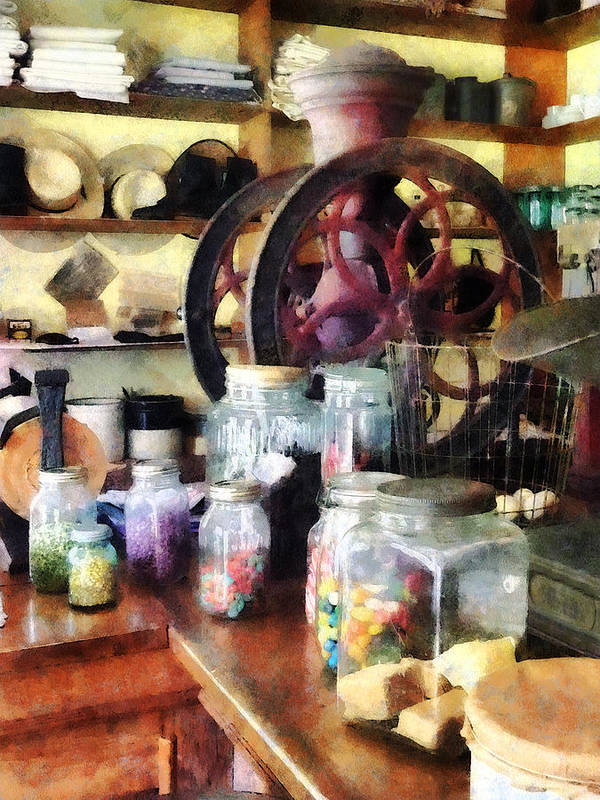 General Store Print featuring the photograph General Store With Candy Jars by Susan Savad