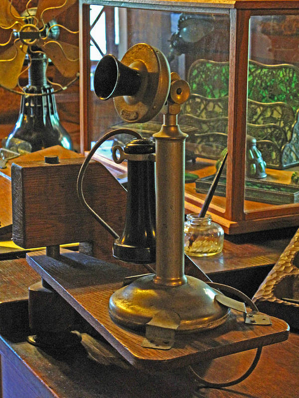 Antiques Art Print featuring the photograph Gillette's Phone And Fan by Barbara McDevitt