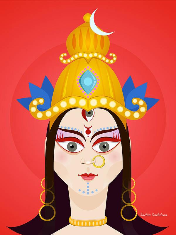 Durga Art Print featuring the digital art Goddess Maa Durga by Sachin Sachdeva