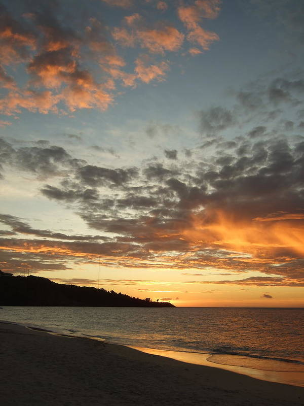 Art Print featuring the photograph Golden Clouds At Grand Anse by Katerina Naumenko