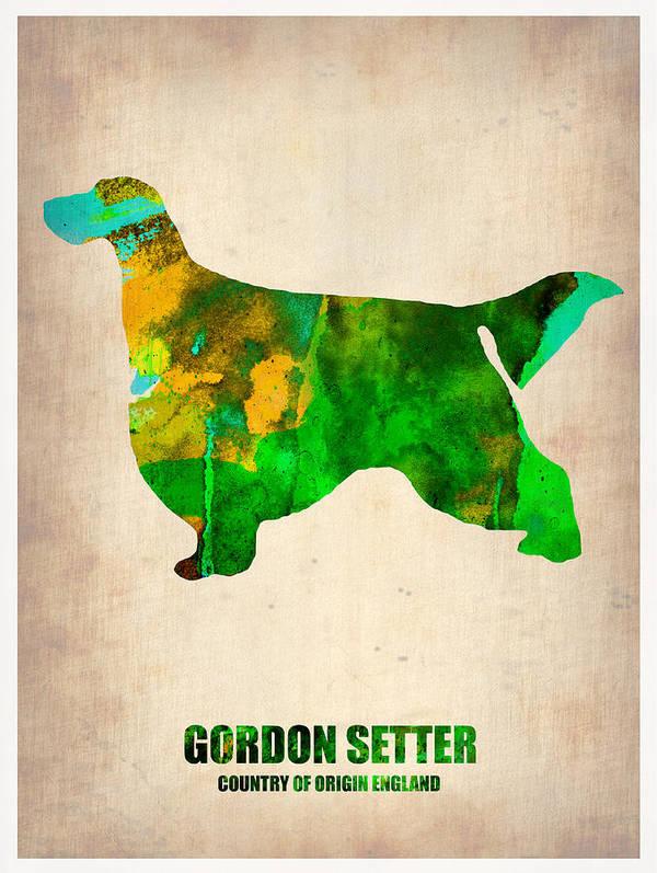 Gordon Setter Print featuring the painting Gordon Setter Poster 2 by Naxart Studio