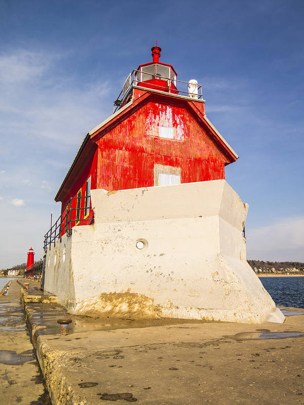Grand Haven Art Print featuring the photograph Grand Haven Pier Lighthouse by Kirsten Dykstra