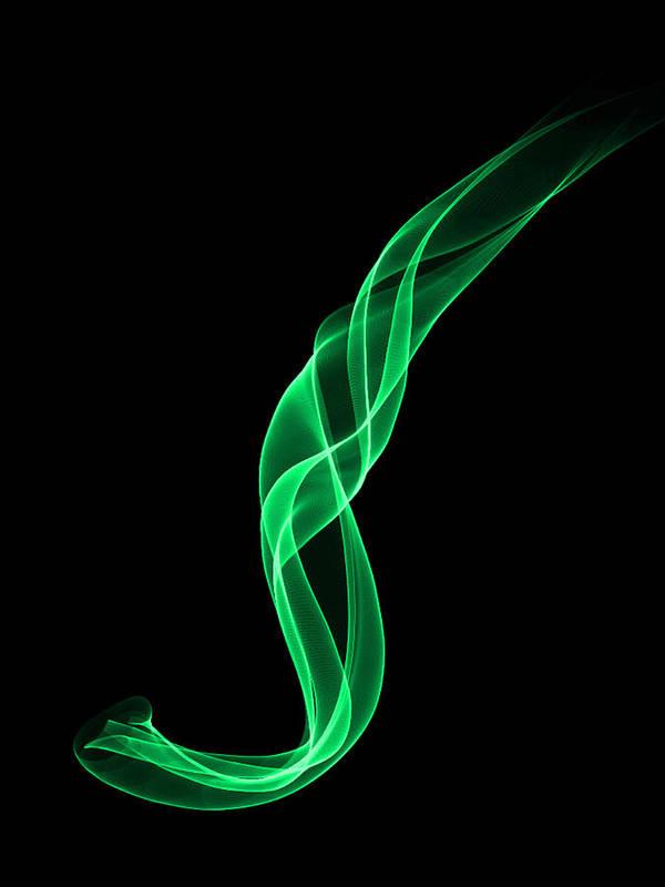 Smoke Art Print featuring the digital art Green Smoke by Matthew Angelo