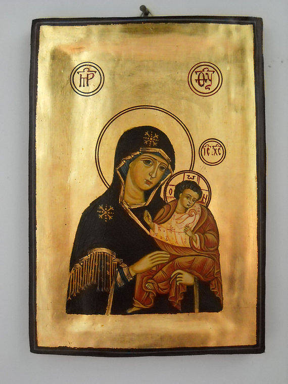 Religious Icons Print featuring the painting Handpainted Orthodox Holy Icon Madonna With Child Jesus by Denise Clemenco