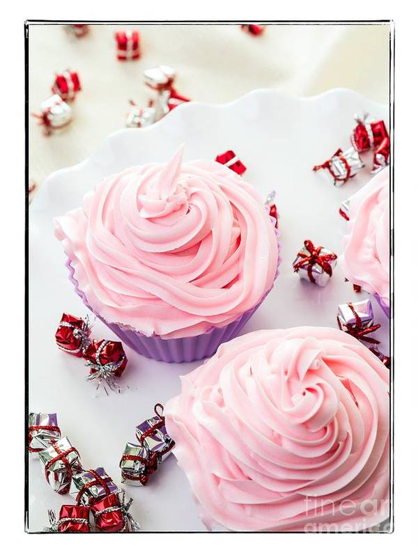 Card Art Print featuring the photograph Happy Birthday Cupcakes by Edward Fielding