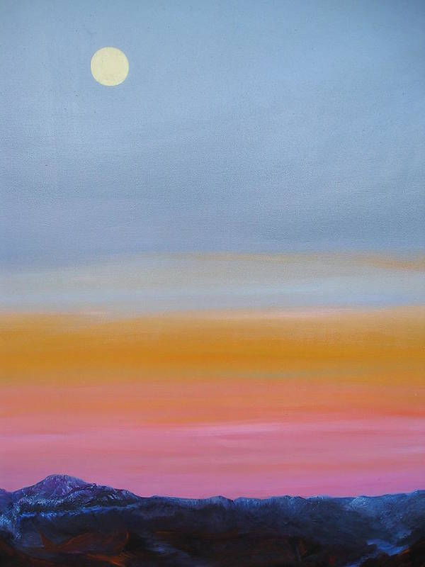 Landscape Art Print featuring the painting Harvest Moon by Tom McAlpin