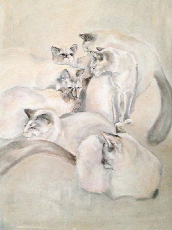Kitten Art Print featuring the painting Heavenly Puffs by Janet Felts