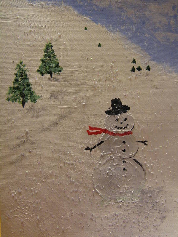 Snowman Art Print featuring the painting Holiday Snowman by Brian Peterson