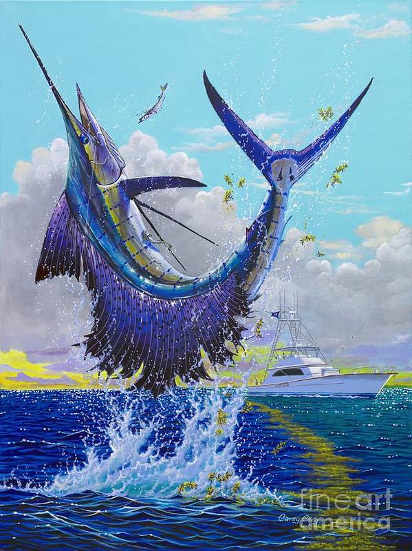 Sailfish Art Print featuring the painting Hooked Up Off004 by Carey Chen