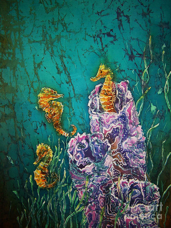 Seahorses Art Print featuring the tapestry - textile Horsin Around by Sue Duda