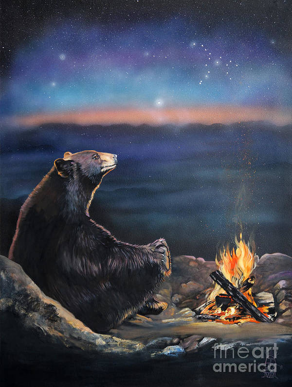 Spiritual Art Print featuring the painting How Grandfather Bear Created The Stars by J W Baker