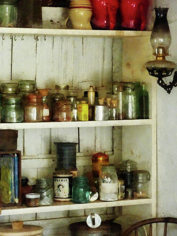 Pantry Art Print featuring the photograph Hurricane Lamp In Pantry by Susan Savad