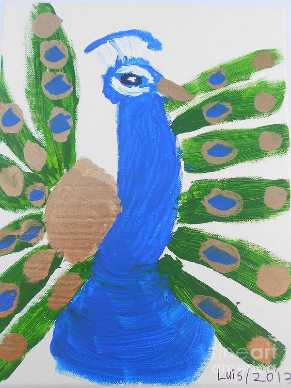 Bird Art Print featuring the painting Indian Blue Peacock by Epic Luis Art
