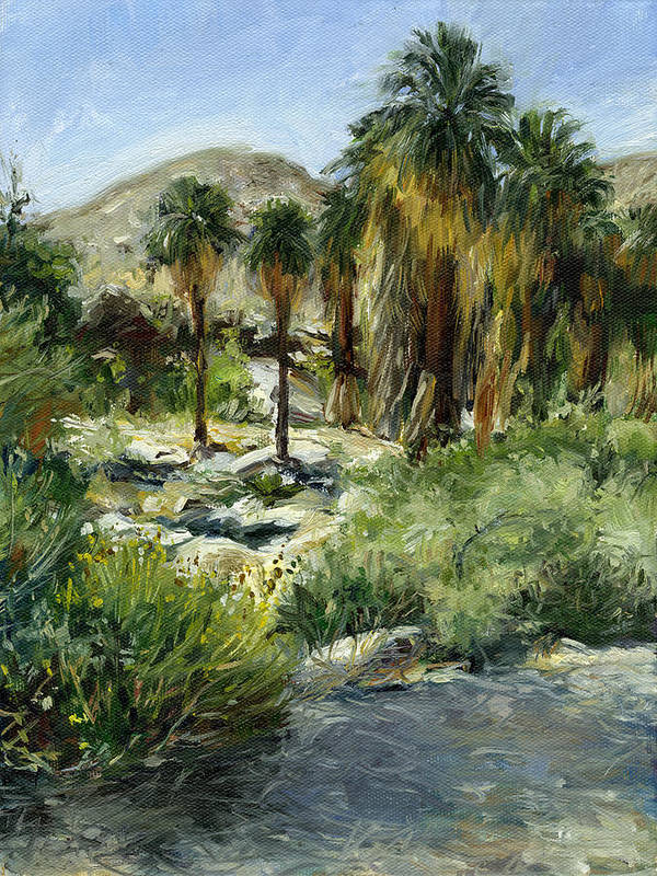 Desert Paintings Art Print featuring the painting Indian Canyon Palms by Stacy Vosberg