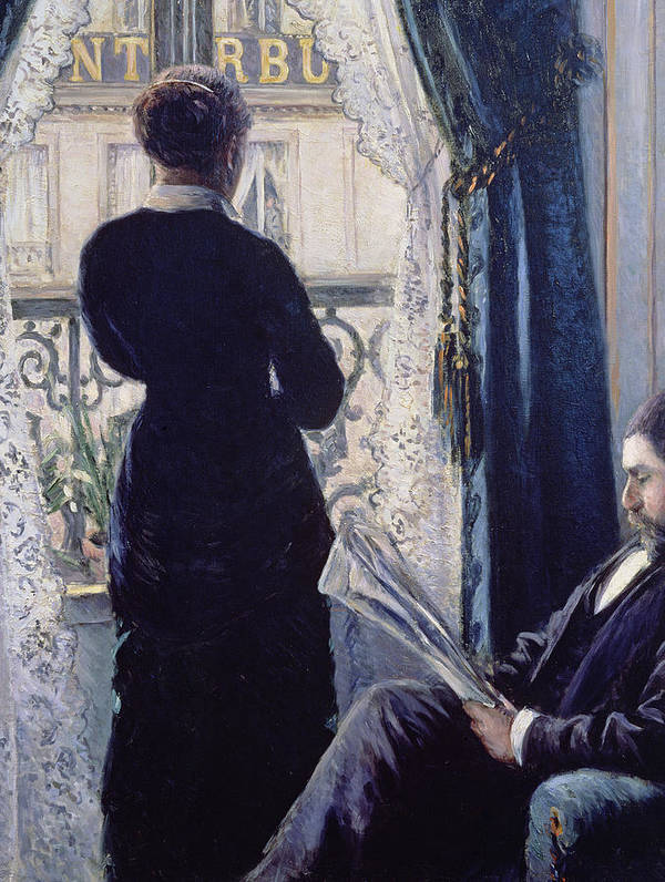 Female; Male; Seated; Reading; Newspaper; Lace Curtains; Parisian; Balcony; Staring; Domestic Scene; Daily Life; Bourgeoisie; Bourgeois; Boredom; Waiting; View Across A Balcony Art Print featuring the painting Interior Woman At The Window by Gustave Caillebotte