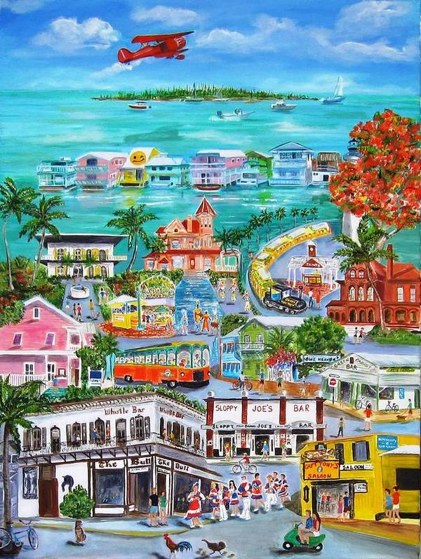 Key West Art Print featuring the painting Island Daze by Linda Cabrera