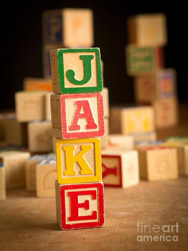Abcs Art Print featuring the photograph Jake - Alphabet Blocks by Edward Fielding