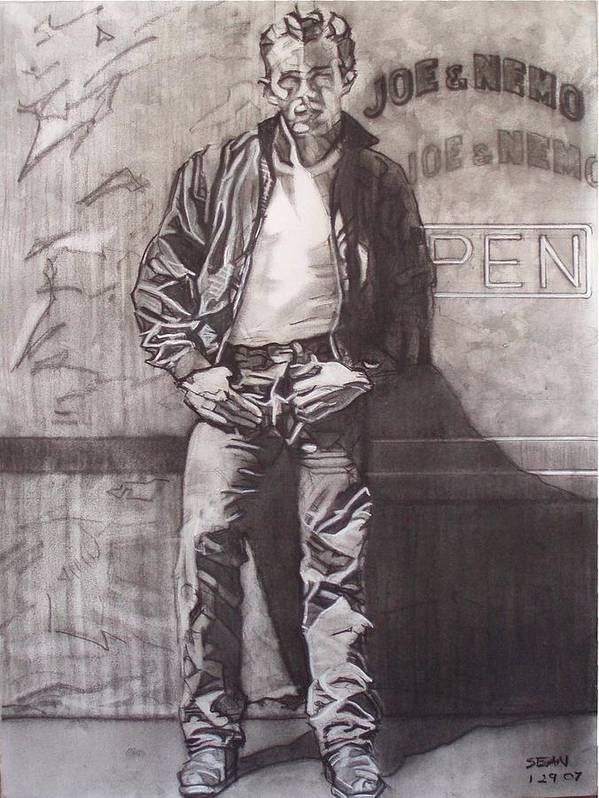 Charcoal; Icon;americana;cool;window;sidewalk;street;rock And Roll;jeans;t-shirt;diner;movie Star Art Print featuring the drawing James Dean by Sean Connolly