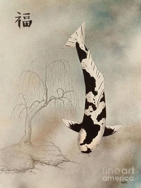 Kohaku.taisho Sanke Prosperity.good Fortune.luck.red Or Black.chinese. Lantern. Asian. Koi .carp. Japanese. China Japan. Bamboo Flower. Minimilist.japanese Chinese Flower Koi Asian Minimilist .gordon Lavender .carp .fish.gin Rin .matsuba.bekko.sanke.kin Gin Rin.asagi.boke.budo Sanke.doitsu.kohaku.hagoromo.hariwake.hi Matsuba.hi Spot.hikari Mono.irogoi.kawarimono.kin Showa.komoyo.leather Carp.mirror Carp.ogon.red Shusui.tancho Yamabuki.ikebana Art Print featuring the painting Japanese Koi Utsuri Mono Willow Painting by Gordon Lavender